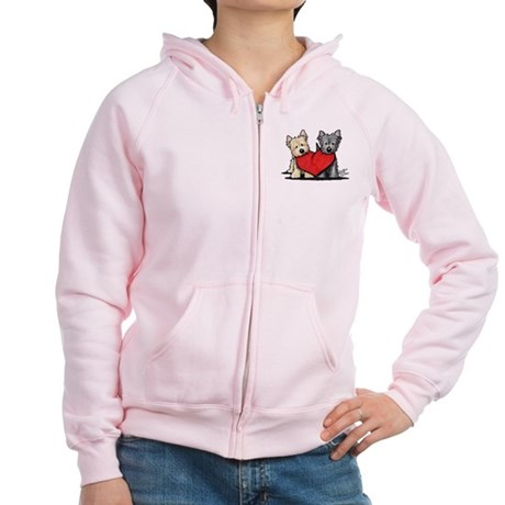 Cairn Terrier Heartfelt Duo Women's Zip Hoodie
