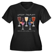 Group Therapy Women's Plus Size V-Neck Dark T-Shir
