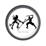 Alian VS Ninja Wall Clock