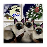 SIAMESE CATS SANTA CHRISTMAS Tile Coaster