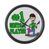 #1 Guitar Player Large Wall Clock
