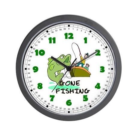Gone fishing wall clock for Fish wall clock