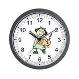Little girl with pet cat Wall Clock