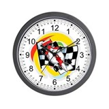 Formula One Race Car/Checkered Flag Wall Clock