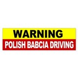 Warning Polish Babcia Driving Bumper Sticker