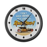 Hey Look, A Rat Rod! Large Wall Clock
