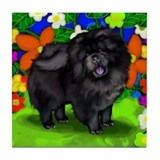 CHOW CHOW DOG BLACK GARDEN Tile Coaster