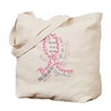 Breast Cancer Typography Tote Bag