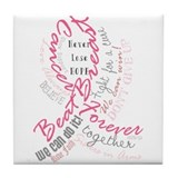 Breast Cancer Typography Tile Coaster