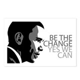 Obama - Change - Yes We Can - Grey Postcards (Pack