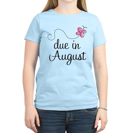 August Due Date Butterfly Women's Light T-Shirt