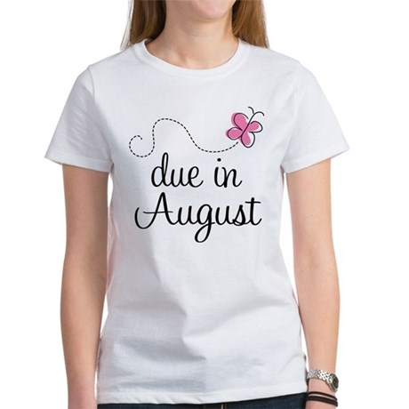 August Due Date Butterfly Women's T-Shirt
