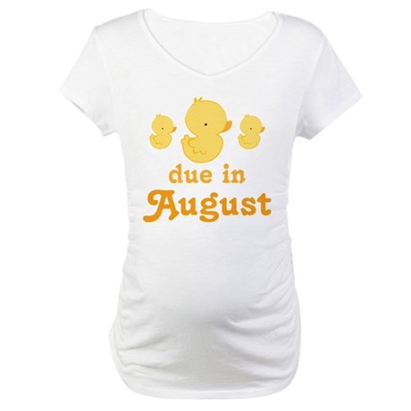 Due In August Baby Duck Maternity T-Shirt