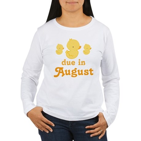 Due In August Baby Duck Women's Long Sleeve T-Shir
