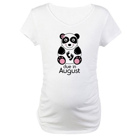 August Panda Baby Announcement Maternity T-Shirt