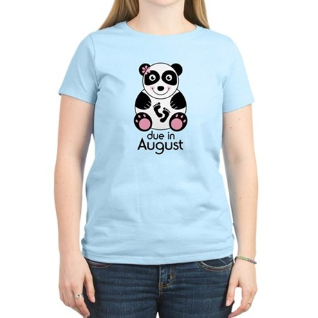 August Panda Baby Announcement Women's Light T-Shi