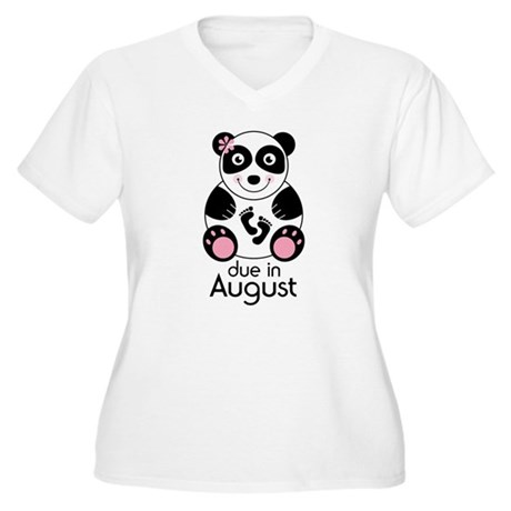 August Panda Baby Announcement Women's Plus Size V