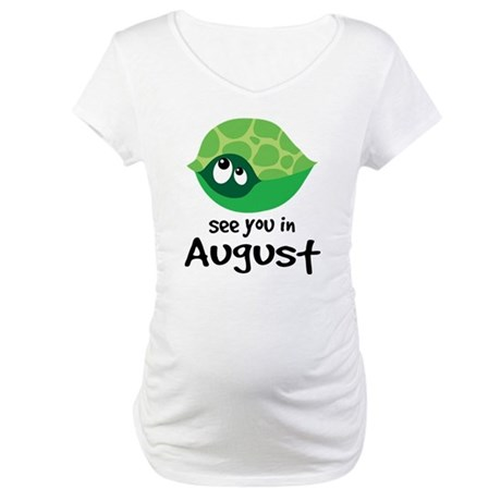 Cute August Turtle Baby Maternity T-Shirt