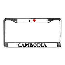 I Love Cambodia License Plate Frame