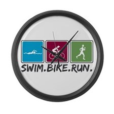 Swim Bike Run Large Wall Clock
