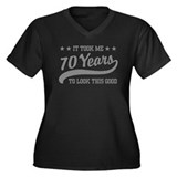 Funny 70th Birthday Women's Plus Size V-Neck Dark
