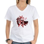 Fibonacci Bats Red Women's V-Neck T-Shirt