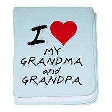 i heart my grandma and grandp baby blanket