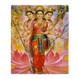 Hindu Three Goddesses Throw Blanket