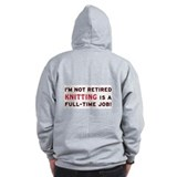 Retired Knitting Gag Gift Zip Hoodie