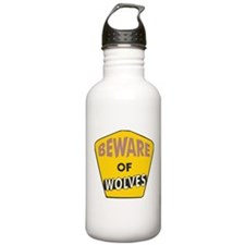 Beware of Wolves Sign Water Bottle