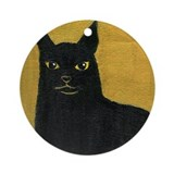 Black cat  Keepsake (Round)