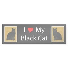 I Love My Black Cat Bumper Bumper Sticker