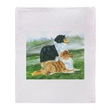 Rough Collie Pair w Tri Throw Blanket