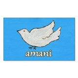 Amani Swahili Peace Dove Rectangle Decal