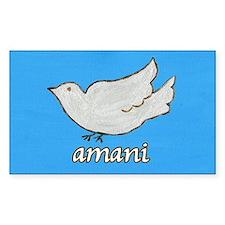 Amani Swahili Peace Dove Rectangle Decal