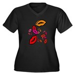 Fibonacci Lips Women's Plus Size V-Neck Dark T-Shi