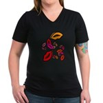 Fibonacci Lips Women's V-Neck Dark T-Shirt