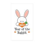Year Of The Rabbit Sticker (Rectangle 10 pk)