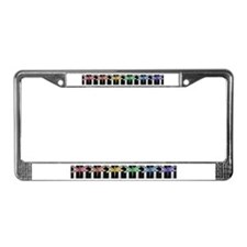 Rainbow dragonfly block print License Plate Frame