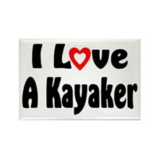 I Love A Kayaker Rectangle Magnet