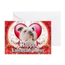 Happy Valentine's Day Bulldog Greeting Card