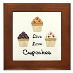 Live Love Cupcakes Framed Tile