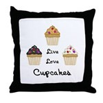 Live Love Cupcakes Throw Pillow