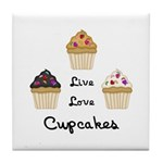 Live Love Cupcakes Tile Coaster