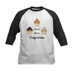 Live Love Cupcakes Kids Baseball Jersey