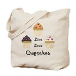 Live Love Cupcakes Tote Bag