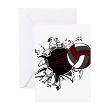 VOLLEYBALL {16} : crimson,whi Greeting Card