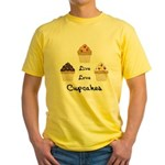 Live Love Cupcakes Yellow T-Shirt