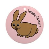 Pink Hoppy Easter Ornament (Round)