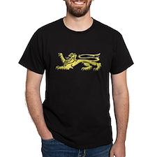 Gold Passant Lion Black T-Shirt